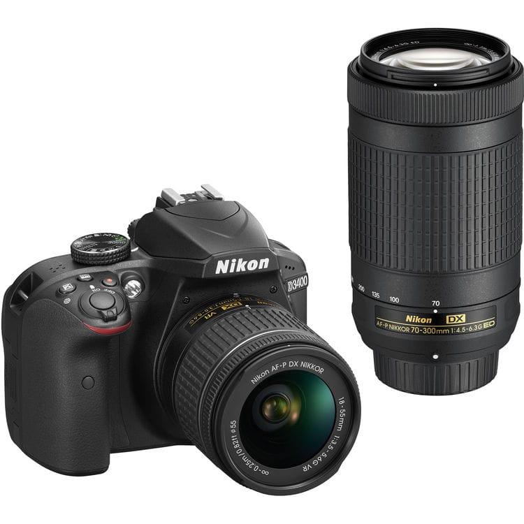 Nikon D3400 + 18-55mm AF-P DX VR + 70-300mm AF-P DX VR - Nero - 2 Anni Di Garanzia In Italia