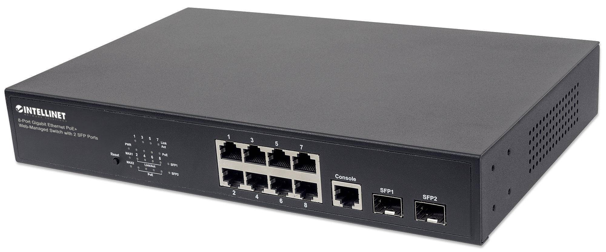 intellinet switch gigabit ethernet 8 porte poe+ web-managed con 2 porte sfp