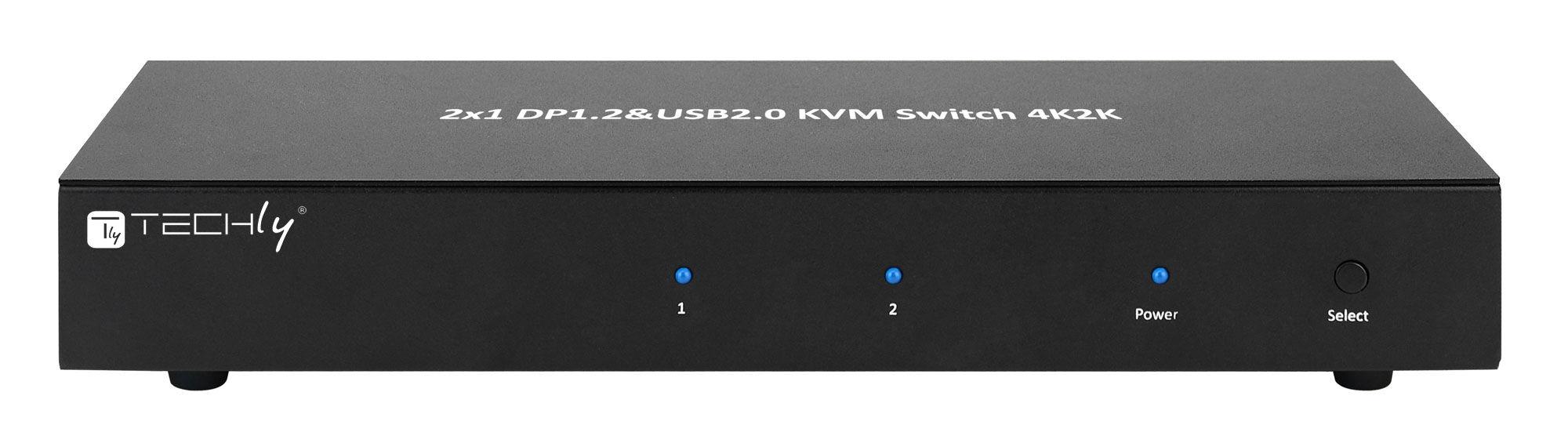 techly switch kvm 2 porte displayport1.2 per doppio monitor