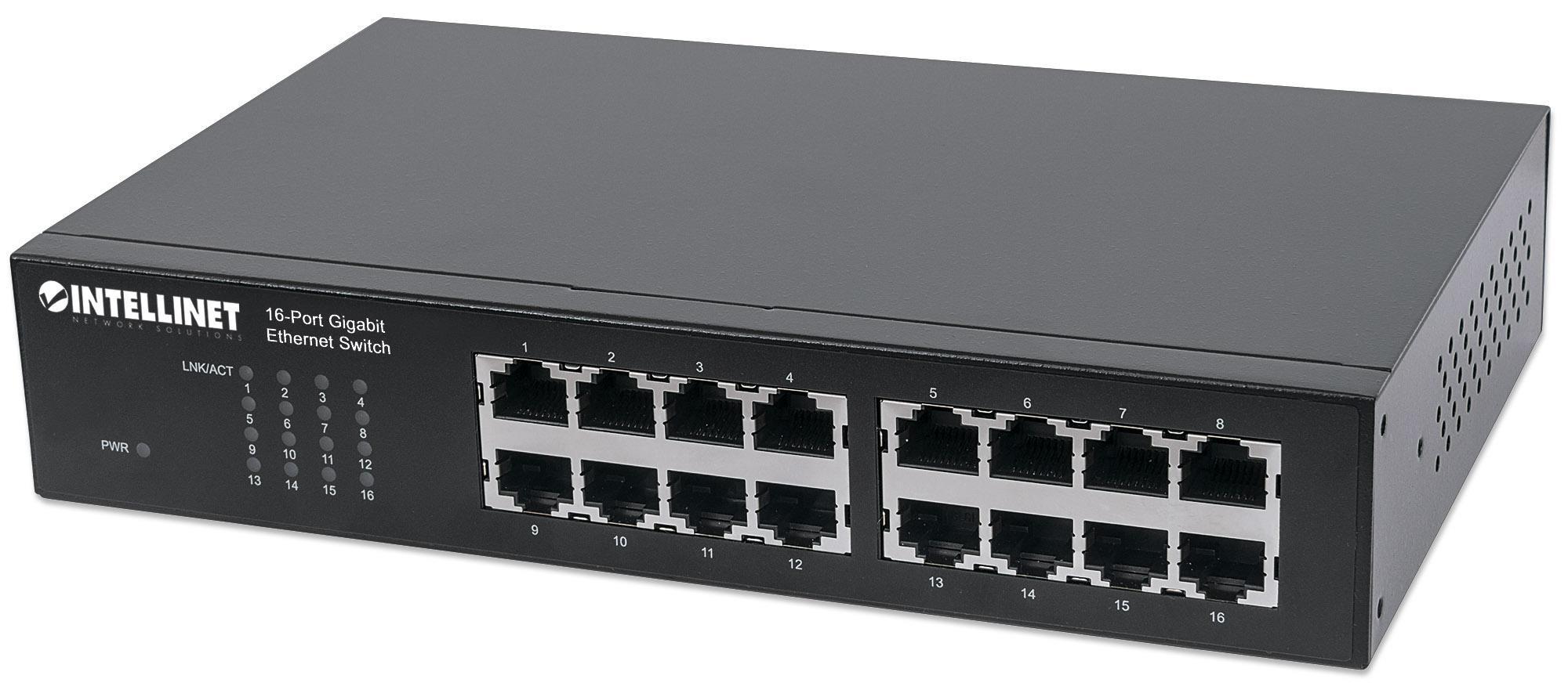 intellinet switch ethernet 16 porte gigabit da rack 19/desktop nero