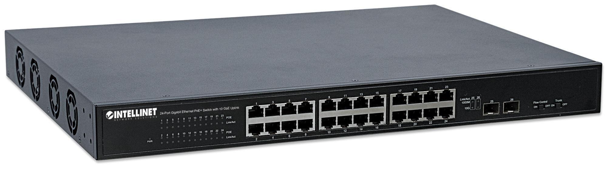 intellinet switch gigabit ethernet 24 porte poe+ con 2 porte sfp+ 10gbe