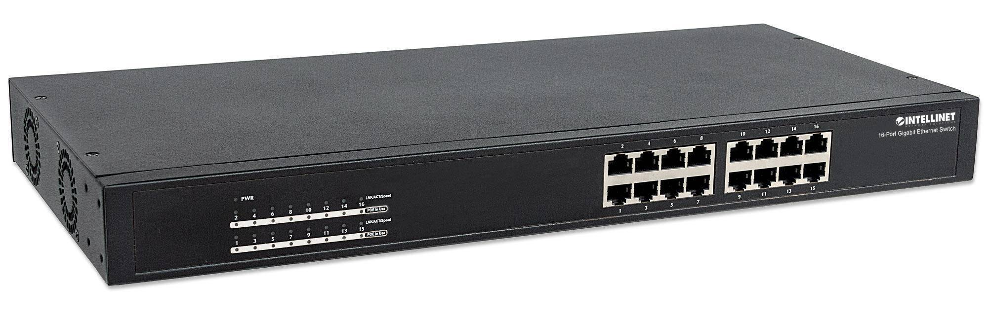 Intellinet Switch Gigabit 16 Porte Ethernet PoE+ Nero