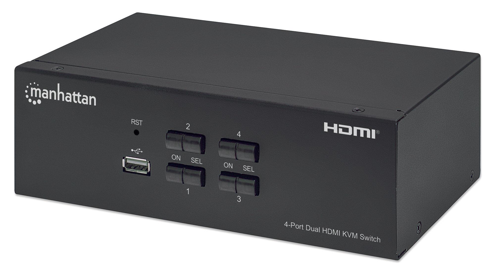 manhattan switch kvm hdmi 4 porte doppio monitor