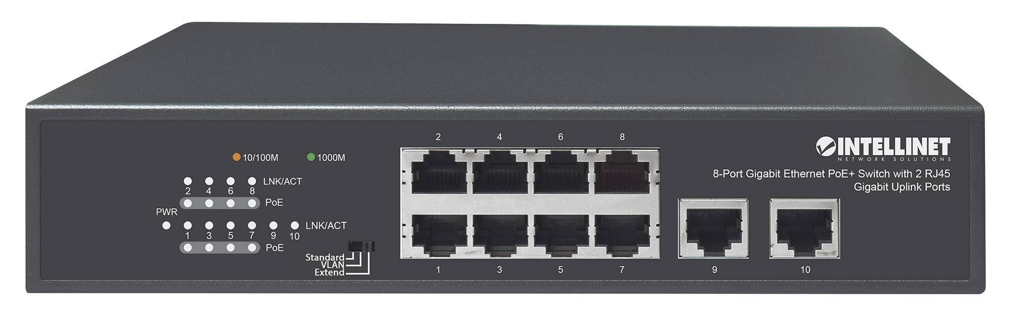 intellinet switch ethernet gigabit 8 porte poe+ con 2 porte rj45 gigabit...