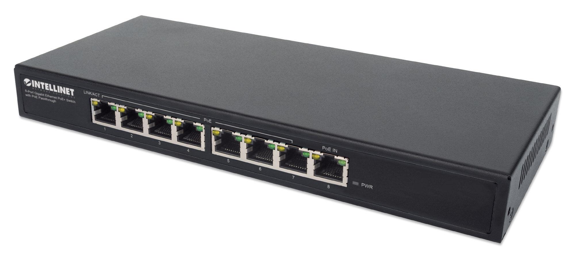 intellinet switch poe+ gigabit ethernet a 8 porte con passthrough poe