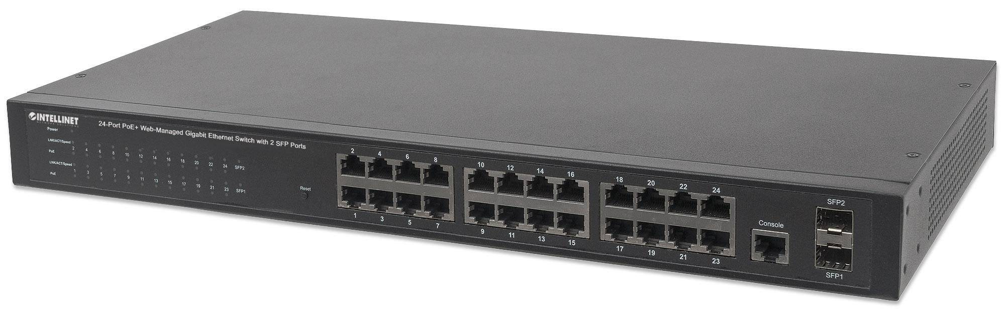 Intellinet Switch 24 Porte PoE Web-Managed Gigabit Ethernet con 2 Porte SFP