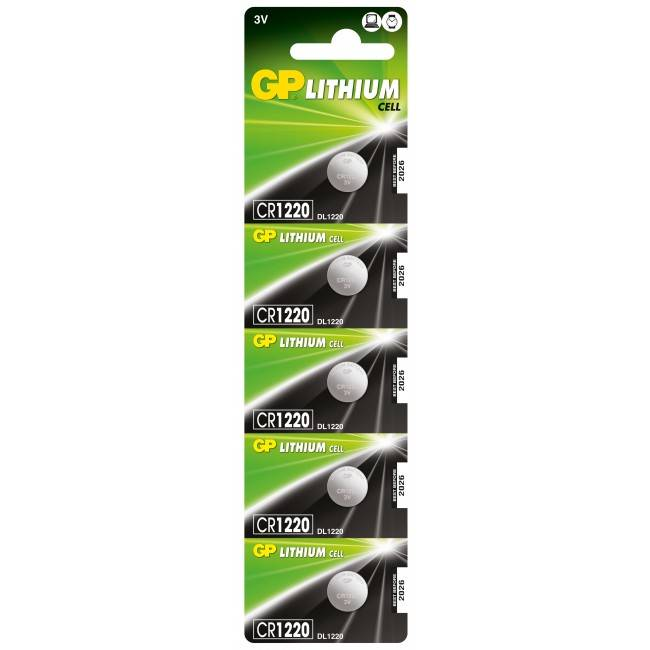 gp batteries confezione 5 batterie litio a bottone cr1220