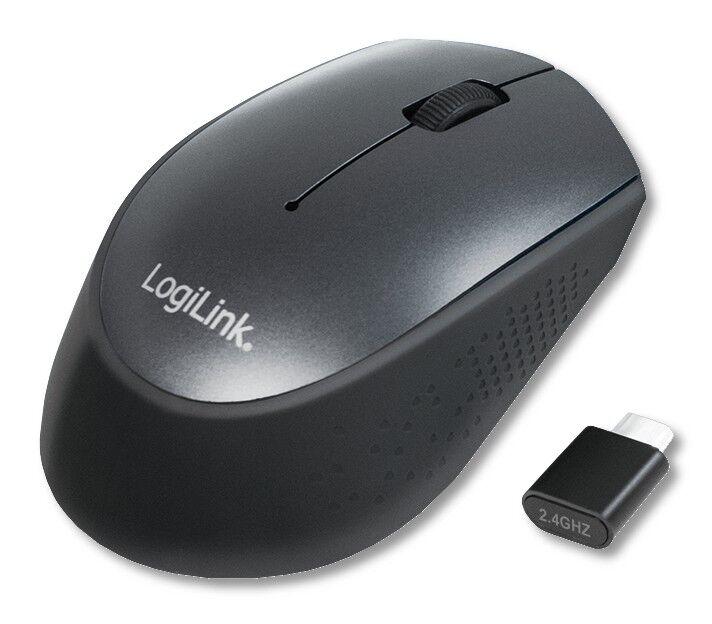 Logilink Mouse Ottico Wireless Ricevitore USB-C 1200dpi Nero
