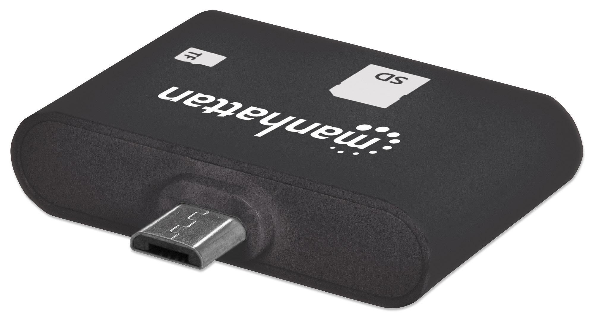 manhattan mini lettore micro usb di memorie sd/microsd per smartphone e...