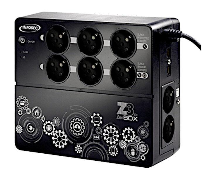 infosec gruppo di continuità ups z3 zen box ex 500va nero