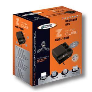 Infosec Gruppo di Continuità UPS Z1 600VA CUBE Offline Nero