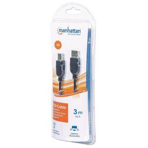 Manhattan Cavo USB 2.0 Hi-Speed A maschio/B maschio 3 m in Blister