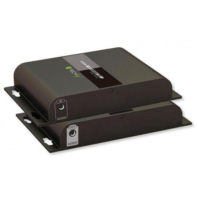 techly np extender vga hdbitt con audio su cavo cat.6 poe fino a 120m