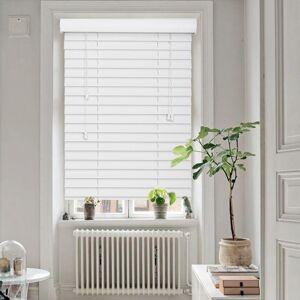 50mm Smooth Slat Traditional PVC Foam Wood Faux Wood Window Venetian Blinds 90x225 50 White