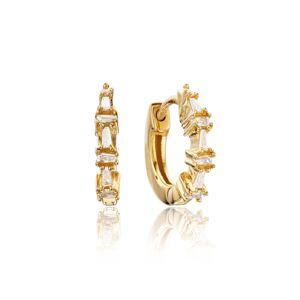 Lily & Roo Gold Diamond Style Baguette Huggie Hoop Earrings - Lily & Roo