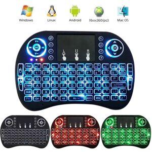 SHUUA Teclado Inalámbrico, Mini I8 Teclado Inalámbrico Touchpad Teclado Ajustable Del Ratón Del Aire De La Velocidad Con El Contraluz (Negro)