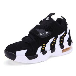 E-Thinker Zapatos De Basquetbol Tenis Zapatos Deportivo Zapatos Del Aire Casuales Unisexo-Negro Con Blanco