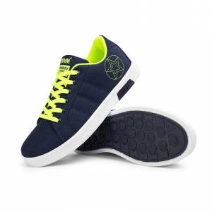 E-Thinker Zapatos De Los Hombres Ocasionales Inglaterra Zapatos De Lona-Azul Con Verde