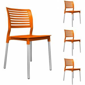 JM mundo de oficina Set 4 Sillas Para Comercio Mod. Galeri Naranja