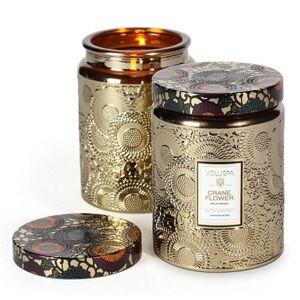 Voluspa Crane Flower Large Metallic Glass Jar Candle 16 oz