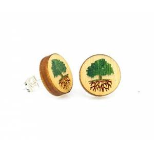 GreenTree Jewelry Green Tree Jewelry Bonsai Tree Studs Peg Laser Cut Color Wooden Earrings Aretes #3000