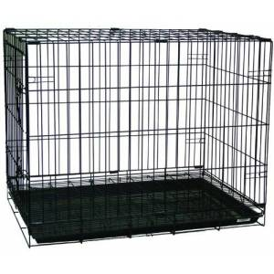 YML Double Door Dog Kennel Cage with Plastic Tray No Bottom Wire, 42-Inch, Black by YML