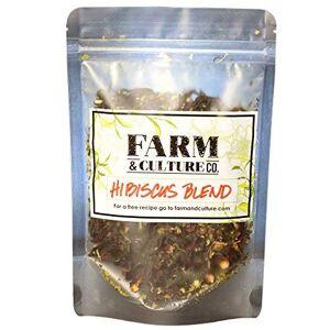 Farm & Culture Mezcla de té de hojas sueltas Hibiscus para Kombucha por Farm and Culture. Una mezcla de tés orgánicos certificados negros y verdes, junto con flores de hibisco orgánicas y otras hierbas orgánicas. Suficiente para preparar 5 galones
