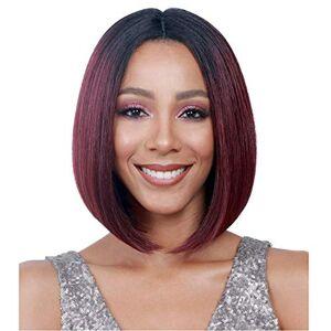 2D8V Las raíces de vino tinto Bob peluca for las mujeres negras de aspecto natural Damas diario peluca de pelo (Color : Wine red)