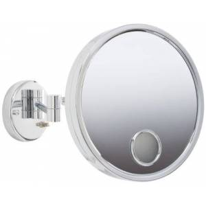 Jerdon JD7C 9-Inch Euro Style Lighted Wall Mount Makeup Mirror with 3X Magnification and Spot Mirror, Chrome Finish