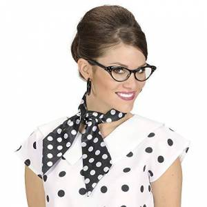 WIDMANN Satin Dotted Neck Sashes Black withWhite Dots Accessory for Fancy Dress