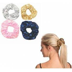 PNEIFON 4 Pack Hair Scrunchies Sparkly Sequins Hair Bands Women Elastic Stretch Knotted Hairbands Hair Tie Kits Metalic Shiny Headbands Fashion Hairbands (style:A)