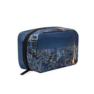 YETSH Bolsa de cosméticos con diseño de ciudad estrellada y cielo personalizado, organizador cuadrado, estuche de almacenamiento para lápices para mujeres
