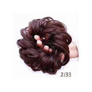 illusory44 calor sintético resistente elástico del pelo del moño postizo rubio rizado bollo color natural del moño extensión del pelo, 2-33