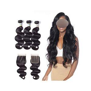 Small Oranges 3 paquetes de cabello brasileño ondulado con cierre 44 encaje cierre 4 unidades/lote paquetes de cabello humano con cierre, Natural Color Free Part, 10 12 14 & Closure8