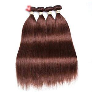 """LING-Hairpieces Fashian 8""""-28"""" Pelo liso y sedoso brasileño con 1 manojo de cabello humano Extensiones de cabello natural Trama # 33 Brown (1 paquete, 100 g) Postizos (Color : Marrón, Size : 28 inch)"""