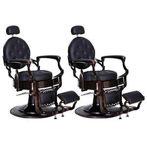 BarberPub 3849 Sillas de estilo barbero, metálicas, multiusos, reclinables e hidráulicas, para salón de belleza, spa, 2 sets
