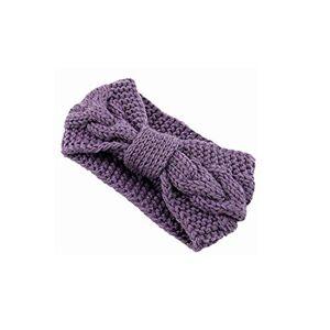 huayun Torcer la banda arco de punto de lana de pelo de invierno caliente del oído protector de Headwear de la venda elástico para muchachas de las mujeres, púrpura