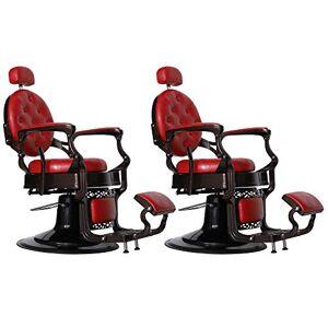 BarberPub 3849 Silla de peluquería, estilo clásico, resistente, Rojo-2 juegos