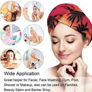 DERTYV Microfiber Hair Towel Turban Wrap For Women,Red Palm Tree Hawaii Quick Dryer Hat With Button Fast Drying & Never Falls Off