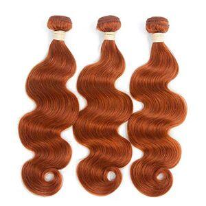"""Nicexiongdei Body Wave Virgin Hair 1 Bundle 100% sin procesar Remy Extensiones de cabello humano # 350 Armadura de cabello marrón amarillento (1 Bundle, 8""""-28"""", 100 g) Moda"""