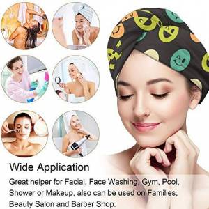 DERTYV Microfiber Hair Towel Turban Wrap For Women,Smiley Face Pattern With Button Fast Drying & Never Falls Off