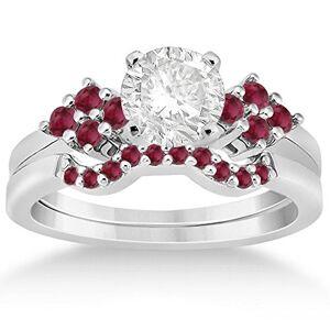 Allurez Contorno de Ruby Cluster Floral Accent Anillo de compromiso y boda banda nupcial conjunto Palladium (0.50ct)