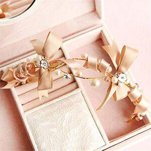 Yanhui YH arco venda nupcial accesorios nupciales del pelo blanco de la boda Accesorios de novia hecho a mano de Headwear (Color : Oro)