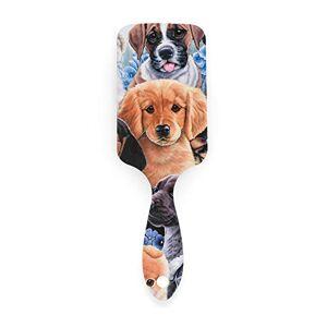 SEMRUAG Cepillo de pelo para collage de cachorros, cojín de aire de masaje antiestático y peine para todo tipo de cabello para mujeres y niñas
