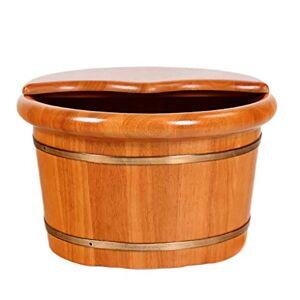 LRR Bañera de pie, bañera de pedicura para baño de madera para adultos en el hogar, cubo de remojo de pies  con tapa