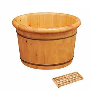 DaPeng Baño De Pies, Robusto Y Durable Natural Grueso De Madera Sauna Pies De Hidromasaje Pueden Tomar Masajes En Los Pies For Mejorar El Sueño (Color : Round, Size : 26cm(10''))