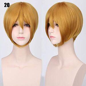 XINYIYI 24 Colors 30Cm Bobo Short Hair Red Silver Gray Light Golden Yellow Green Pink Purple Orange White Universal Cosplay Wig Bangs K047-20