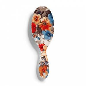 PRAHUCE Cepillo de pelo con estampado floral y estampado de flores, cepillo para el pelo mojado, cepillo para desenredar todo tipo de cabello, para mujeres, hombres, cabello húmedo y seco