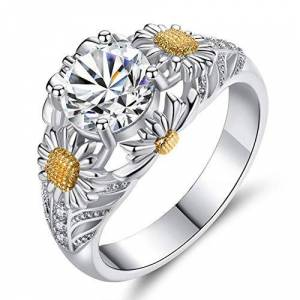 Krimo Anillo de girasol, girasol flor del hueco del anillo de circón cúbico Circonia joyería de plata diamante de compromiso de boda anillos de banda Promise