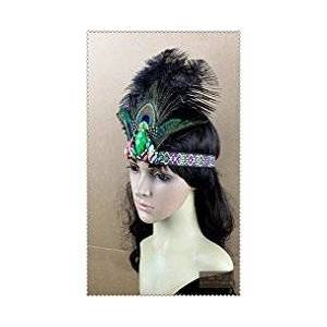 Seven Handmade Feather Rhinestone Headpiece, Indian Feather Fascinator Headband, Black by Kai Don